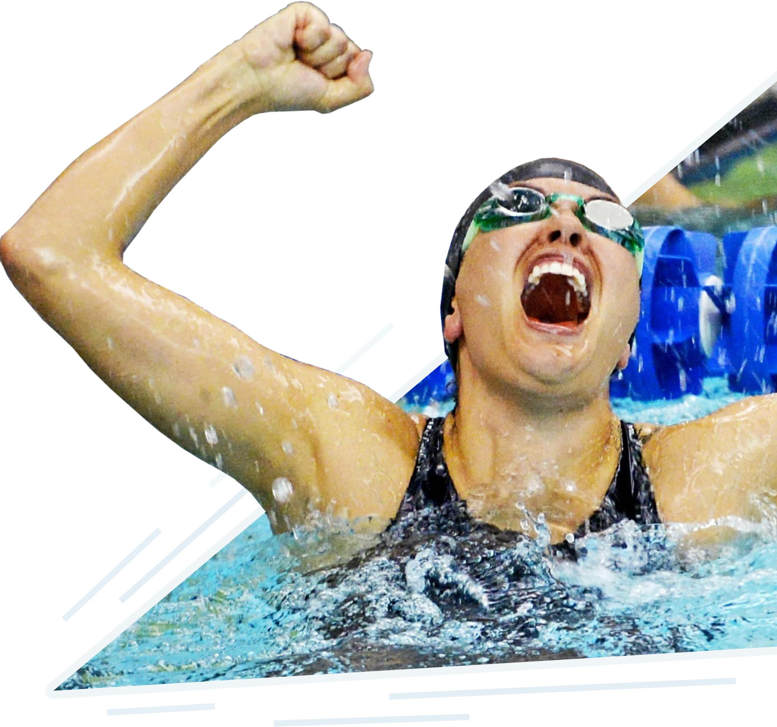 swimmer celebrates win
